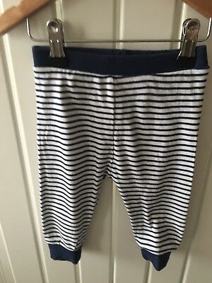 Baby Boy's Clothes 6-9 Mths - Navy Striped Pull On Trousers By NEXT