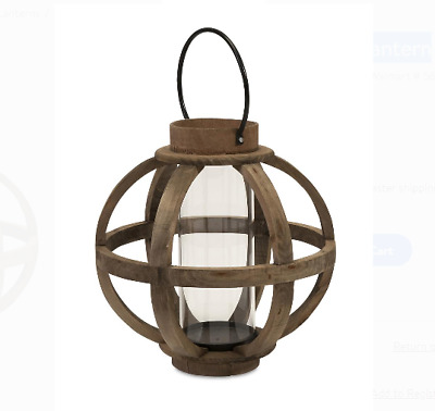 Wood Lantern Candle Holder Home Wedding Decor Candlestick Wick Cylindrical Glass