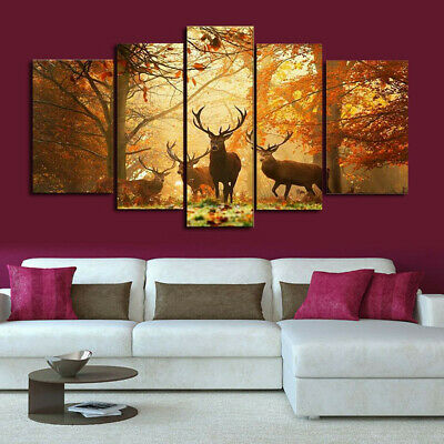 Forest Elk Deer Canvas Print Art Oil Painting Wall Picture Home Decor