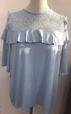 V By Very Baby Blue Lace Detail Frill Front Short Sleeve Top Plus Size 18