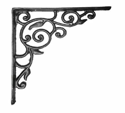 BLACK CAST IRON ORNATE VINTAGE CORNER / SHELF BRACKET - LARGE  215x215x25mm