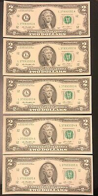 5 NEW Uncirculated $2 Dollar Bill Note Lucky Sequential Denomination US USD
