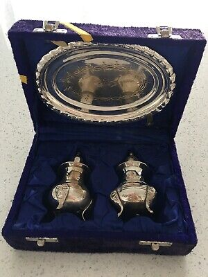 Vintage EPNS silver plated tray & salt and pepper pots in presentation box