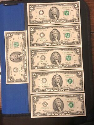 6 NEW Uncirculated $2 Dollar Bill Note Lucky Sequential Denomination US USD