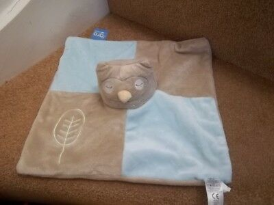 Bnwot The Gro Company Patchwork Owl Baby Comforter Blanket Soft Toy Brown Blue