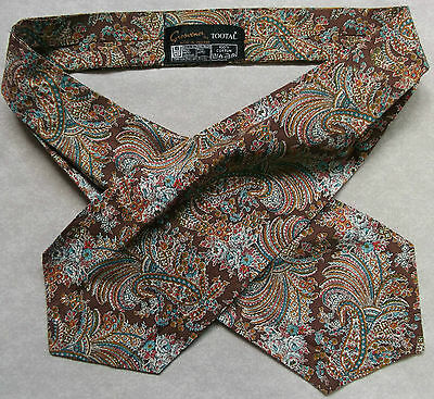 Cravat Tootal Vintage Mens 1960s 1970s MOD GROSVENOR PAISLEY BROWN