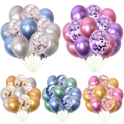 15pcs Metallic Latex Confetti Balloons Prom Wedding Birthday Party Decoration UK