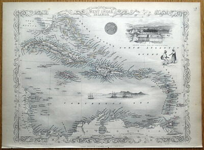 WEST INDIES, WEST INDIA ISLANDS, Rapkin original antique map 1851