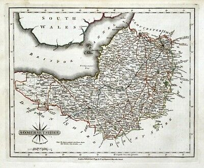 SOMERSETSHIRE Original John Cary Hand Coloured Vintage Antique County Map 1793