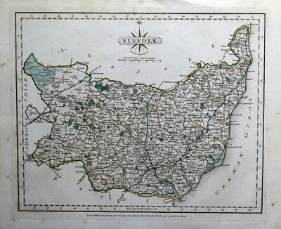 SUFFOLK Original John Cary Antique Hand Coloured Vintage County Map 1793