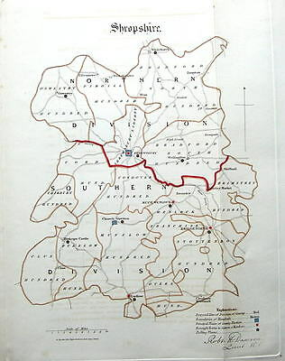 SHROPSHIRE,  Dawson Original, Hand Coloured Antique County Map 1832