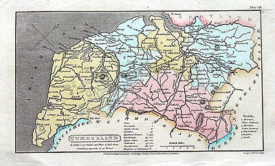 CUMBERLAND,CUMBRIA, Capper Original First Edition Antique County Map 1808