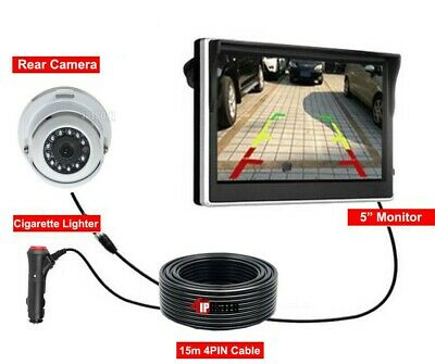 """4 PIN Rear View Kit 5"""" Monitor White Color Dome CCD Reversing Camera For Caravan"""
