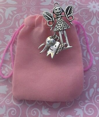 Cute Tiny Pink Tooth Fairy Gift Bag With 3 Charms Teeth Velvet Pouch