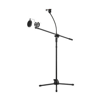Metal Microphone Floor Stand Tripod Adjustable Height with Boom Arm 3 Mic O3O1
