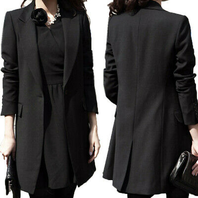 Women Autumn Winter Casual Formal Tunic Coat Jacket Outerwear Suit Black Blazer