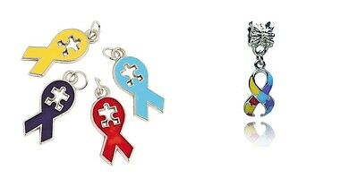 2 Autism Awareness Ribbon Charms Silver Plated Enamel Fun and Colorful E383