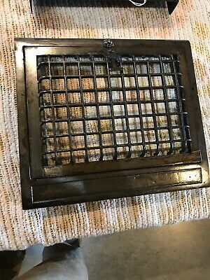 J 16 antique cast-iron floor to wall mount heating grate face 12.5 x 14