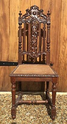 Beautifully carved, antique, cane seated Victorian hall chair.