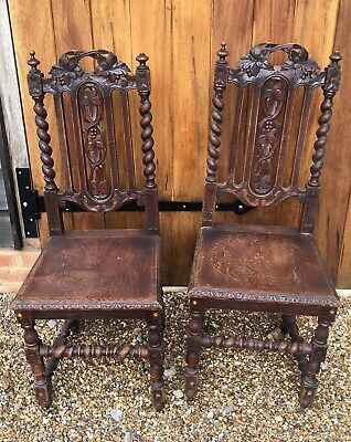 Pair of early Victorian, wooden seated antique hall chairs.