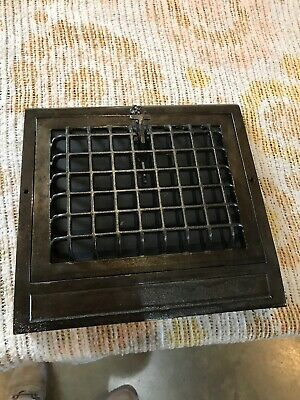 J 15 Antique cleaned and lacquered wall mount heating grate 11.5 x 12 1/8