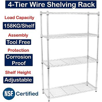 Commercial Metal Shelving Chrome Steel Wire Rack Unit Boltless Storage Shelf