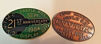 1983 & 1984 CVVTMC Castle Hill Annual Display Day Plaques VINTAGE CAR