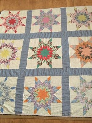 """*Lovely Antique Bright Colorful All Hand Sewn 8 Point Star Quilt 82"""" X 62"""""""
