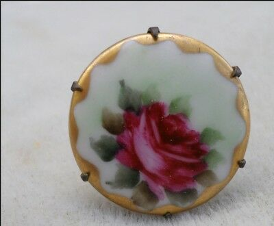 Antique Hatpin Hand Painted ROSE on Porcelain
