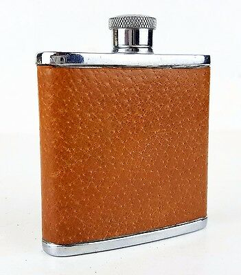 Vintage retro mid century English pigskin tan leather 2oz Hip Flask