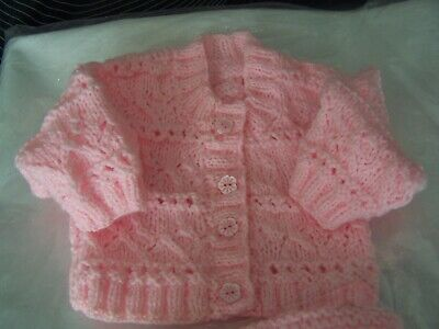 Baby Lacy Cardigan & Hat- Hand knitted-To fit  Age 0-6-Free Postage!