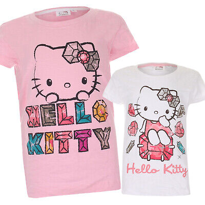 Hello Kitty - Girls Kids T-shirts - Ages 8-14 - Official - Pink White or Black