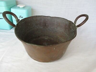 Antique Primitive Copper Double Handled Pot  Hand Forged * AWESOME PATINA Rolled