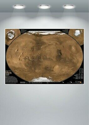 Map Of Planet Mars Large Poster Art Print
