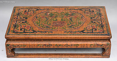 """16""""Chinese Wood Lacquerware Dynasty Palace Phoenix Bird Flower Table Desk Statue"""