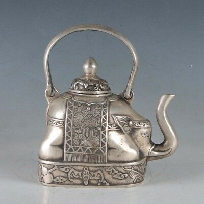 Chinese  Tibetan silver Hand carved Elephant Shape Teapots w Daqing Marks