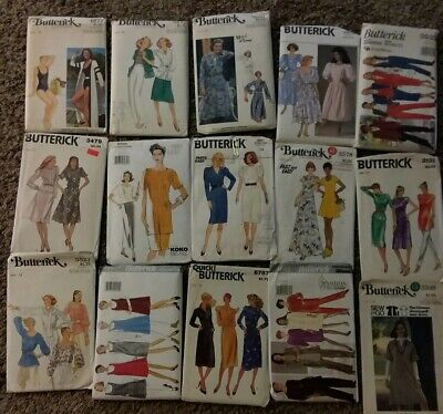 Lot of 15 Vintage Butterick Women's Sewing Patterns Sz 14 Dress Blouse Jacket