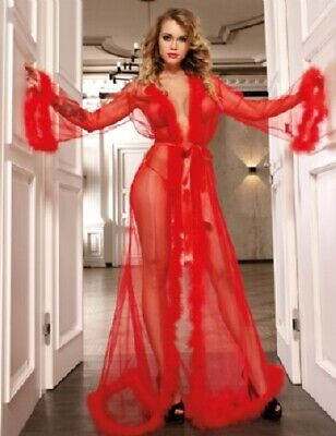 Glamorous Full Length Red Negligee / Robe - Size 8/10