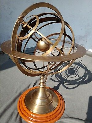 "22"" Large Fully Brass Armillary Sphere Engraved Nautical Astrolabe With Wood Bas"