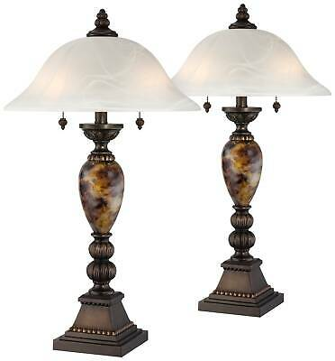 Mulholland Bronze and Alabaster Glass Table Lamp Set of 2