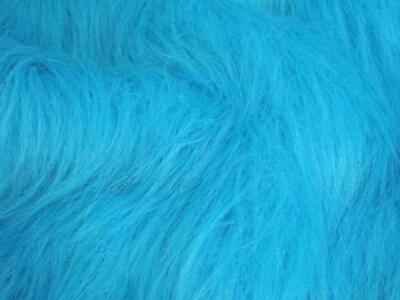 LONG Pile Fun Faux Fur Fabric Material - TURQUOISE BLUE