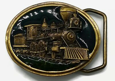1984 Steam Train Belt Buckle Bergamot Brass Works L-145 Mini/Kids Small