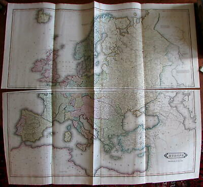 Europe Russia Scandinavia Italy Iceland U.K. c.1830s Lizars huge 2 sheet map
