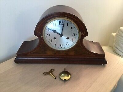 Spares/repair Early Wood Chiming Mantel Clock, Case In V.g.c With Key & Pendulum