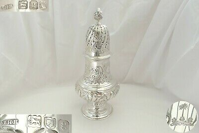 Rare Large Edwardian Hm Sterling Silver Baluster Sugar Caster 1902