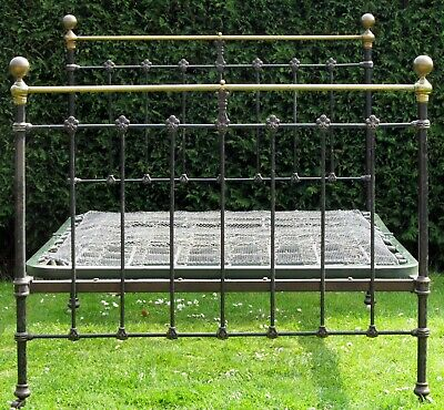 Victorian Brass and iron Standard Double Bed with Sprung Base