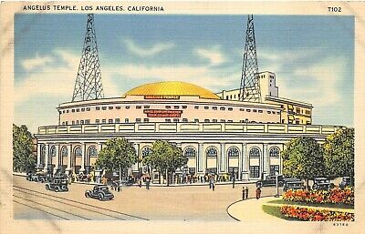 Los Angeles California 1930-40s Postcard Angelus Temple Church of Four Square
