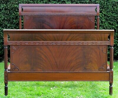 Quality Blind Fretwork Mahogany Standard Double Bed with Sprung Base