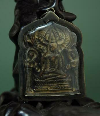 Old Collect Thailand Ayutthaya Maitreya Buddha Incense Ash Card Statue /03