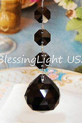 Black - Lead Glass Crystal - 30mm Crystal Ball - Chandelier Prisms Pedants